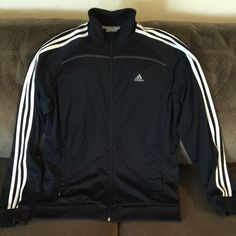 MEN'S ADIDAS FULL ZIP JACKET ADIDAS MENS CLIMALITE FULL-ZIP JACKET, SIZE LARGE.  100% POLYESTER.  NAVY BLUE/WHITE.  EXCELLENT CONDITION.  COMES FROM A PET-FREE, SMOKE-FREE HOME.  BUNDLES WELCOME!!! Adidas Jackets & Coats