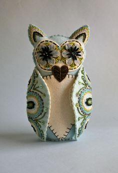 Felt Owl Doll Mexican Folk Art Blue and by calaverasYcorazones, $120.00