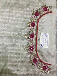 Sudhasri hemaswardrobe Hand Embroidery Dress, Kurti Embroidery Design, Embroidery Neck Designs, Bead Embroidery Patterns, Embroidery Works, Embroidery Stitches, Cutwork Blouse Designs, Wedding Saree Blouse Designs, Simple Blouse Designs