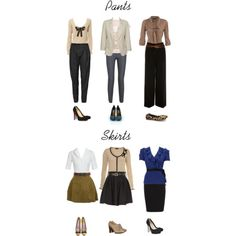 Interview attire options for women which include pants and skirts. All cute options!