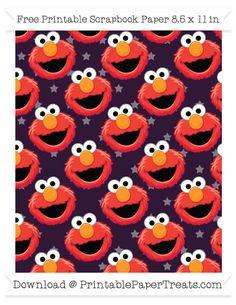 Free Dark Purple Star Large Elmo Head Pattern Paper - Sesame Street