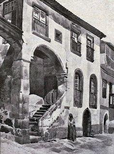 Vila Real, casa de Diogo Cão. Aguarela de Alberto de Sousa