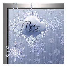 Elegant Silver Blue Snowflake Baby Boy Shower Custom Invitation