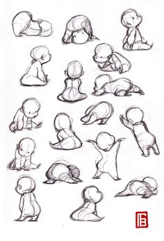 Baby Sketch / Drawing Poses- People (body parts), Animals, calicaturas, plants Tutorial ★ ||CHARACTER DESIGN REFERENCES |チュートリアル、インスピレーション • Learn how to draw: #concept #art #animation || ★ https://es.pinterest.com/kunstler9/drawing-tutorials/