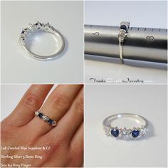 CZ and Lab Sapphire Ring in Sterling Silver, Lab Created Blue Sapphire with Cubic Zirconia, 5 Stone Anniversary Band Wedding Promise Ring Size Engagement Ring On Hand, Wedding Promises, Silver Labs, Diamond Simulant, Handmade Rings, Anniversary Bands, Conflict Free Diamonds, Promise Rings, Blue Sapphire