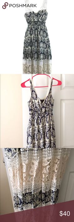 Anthropologie Boho Maxi dress NWOT. Sunday in Brooklyn Boho Maxi Dress. Size small. Sleeveless, crossover v-neck. Long full length. Length 48 inches. Chest 16 inches. In pristine condition! Anthropologie Dresses Maxi