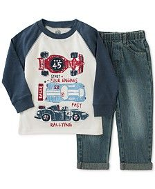 Kids Headquarters Little Boys' 2-Pc. Long-Sleeve Shirt & Jeans Set
