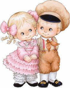 Jongetje en Meisje met Roze Jurkje Verliefd