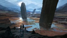 Pillars of the Gods by DrawingNightmare monoliths mountains alien landscape location environment architecture | Create your own roleplaying game material w/ RPG Bard: www.rpgbard.com | Writing inspiration for Dungeons and Dragons DND D&D Pathfinder PFRPG Warhammer 40k Star Wars Shadowrun Call of Cthulhu Lord of the Rings LoTR + d20 fantasy science fiction scifi horror design | Not Trusty Sword art: click artwork for source