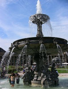 Fountain in Schlossplatz, Stuttgart, Germany - What a treat being stationed in Germany was! We loved living in Stuttgart.