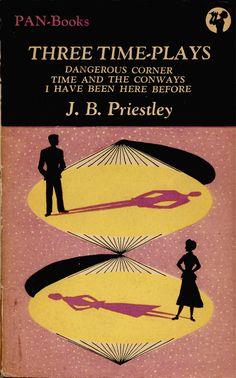 Three Time-Plays by J.B. Priestley. Pan 007 1949 reprint. Vintage Pan paperback book cover.