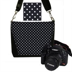 Small Camera Bag Messenger  Womens Camera Bag MINI Slr Camera Bag tiny polka dot black white MTO