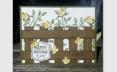 "This fence is easy to create using the Stampin' Up! ""Hardwood"" stamp and makes a perfect background for your greeting card!"