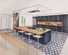Discover recipes, home ideas, style inspiration and other ideas to try. Interior Architecture Drawing, Interior Design Renderings, Architecture Concept Drawings, Drawing Interior, Interior Rendering, Interior Sketch, Architecture Design, Küchen Design, Design Case