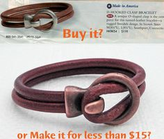 Buy it for $119 or Make it for less than $15 - tell us what you would do?  We were surprised to see the Ring Hook Bracelet featured in a popular clothing catalog listed for $119. We sell the exact components on our website for less that $15.... If you can glue you can make this easy DIY project. We carry the Ring Hook in 4 different finishes and have more than 30 5mm round leather colors to choose from. #makeorbuy #leatherbracelets #diyproject
