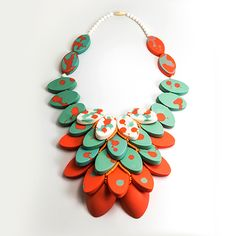 Porcelain necklace by Mia. Red statement necklace, bib necklace, Mint necklace, green necklace, orange necklace, coral color necklace