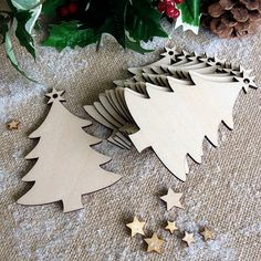 Wooden Christmas Tree Decorations, Gift Tags, Blank Shapes