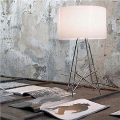 Moderne Tischleuchte Trommel Design aus Aluminium