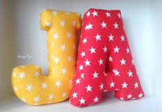 Yellow letter J pillow - Stars - Custom letter - Initial pillow - Alphabet pillow - Personalized cushion - Nursery decor - Red - Soft letter Initial Pillow, Letter Cushion, Letter Pillow, Nursery Signs, Nursery Decor, New Baby Gifts, Gifts For Kids, Kids Photo Props, Diy Cushion