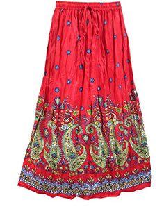 Womans Peasant Skirt Boho Red Paisley Printed Long Maxi Skirts, Gift Idea Mogul Interior http://www.amazon.com/dp/B00Y2CHYHE/ref=cm_sw_r_pi_dp_N.Vxvb1W5NCNH