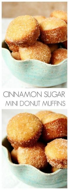 Cinnamon Sugar Mini Donut Muffins - little gems that look like muffins but taste like your favorite cinnamon donuts! Doughnut Muffins, Pear Muffins, Donut Cupcakes, Mini Muffins, Baking Muffins, Mini Donuts, Muffins Blueberry, Baked Donuts, Zucchini Muffins