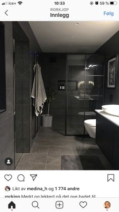 Finally, the long-awaited shower wall from Macro Design has come into place in . Home Board, Laundry In Bathroom, Bathroom Inspiration, Black House, Home Interior Design, Shower, Toilet, Long Awaited, Home Decor