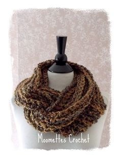NEW Crochet Infinity Scarf Womens Wide Winter Bulky Cowl Tweed Brown Handmade