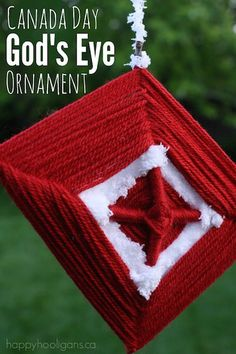 God's Eye Ornament – a Kids' Weaving Craft for Canada Day via @https://www.pinterest.com/happyhooligans/