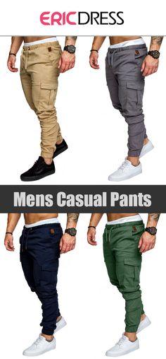 Plain Lace Up Pocket Mens Casual Pants>>Material:Cotton; Pants Length:Full Length; Pattern:Plain