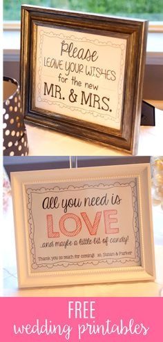 I loved having these wedding signs at my reception! I made a candy table sign and a guest book sign that you can download for free over on the blog! There is also a fun guest fill in the blank card for them to fill out! #weddinghacks