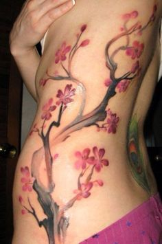 It would be pretty nice to see you with a cherry blossom branch going up your side like this one:)