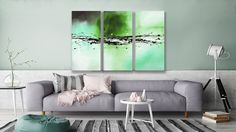 """This exclusive triptych is called """"Splashes of Colour Green"""" and you can find it in Sofa, Couch, Triptych, Color Splash, Colour, Abstract, Canvas, Green, Furniture"""