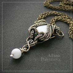 White stones wire pendant