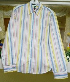 Lauren Ralph Lauren LRL Striped Shirt SM White Pink Yellow Blue Classic Preppy #RalphLauren #Blouse #Casual