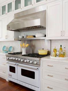 Beach House Kitchen gorgeous stove. love the white