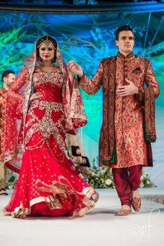 Asiana Bridal Show: Harkirans red gold lengha / Ziggi wine gold sherwani via IndianWeddingSite.com