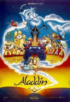 """Aladdin is the entry into the Disney Animated Canon. Released in the film is a very free and loose adaptation of the Arabian Nights tale of """" … Disney Family Movies, Walt Disney Characters, Disney Movie Posters, Family Movie Night, Original Movie Posters, Disney Films, Disney Love, Disney Art, Disney Magic"""