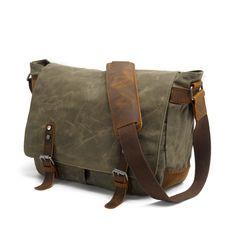 <b>Men's</b> Handmade Vintage <b>Crazy Horse</b> Leather Canvas Backpack ...