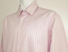 Men Hugo Boss Striped Dress Shirt 100% Cotton Black Label sz 16 X 34 #HUGOBOSS