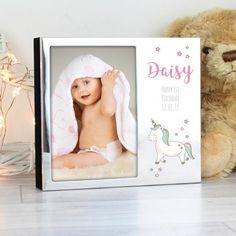 Personalised Unicorn Photo album - Personalised Baby Unicorn Photo Frame Album - Unicorn gift - new baby gift - baby keepsake Giraffe Photos, Unicorn Photos, Baby Unicorn, Unicorn Gifts, Personalised Frames, Personalized Baby, Puppy Gifts, Baby Keepsake, Christening Gifts