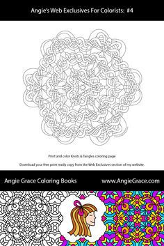 Angie Grace Knots & Tangles coloring page. For markers or colored pencil coloring.