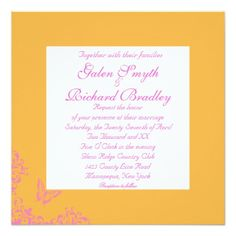 Tangerine Butterfly Silhouette Wedding Invitations