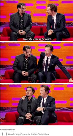 #BenedictCumberbatch <3 Johnny Depp & Benedict Cumberbatch.. I feel like I already pinned this before. Benedict Cumberbatch and Johnny Depp on the Graham Norton Show [gifset]