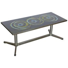 Argentinian Mid-Century Modern Ceramic Tile Op Art Cocktail or Coffee Table | From a unique collection of antique and modern coffee and cocktail tables at https://www.1stdibs.com/furniture/tables/coffee-tables-cocktail-tables/