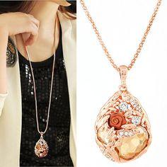 New Brand Vintage Long Flower Necklace Fashion Charms Crystal Gem Cubic Zircon Diamond Necklaces Pendants Women Jewelry A022