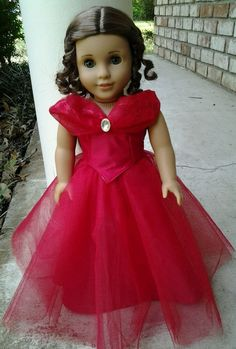 """Lot of 18"""" Doll Clothes -Fancy Red Gown-Fits American Girl -Grace, Isabelle, Kit"""