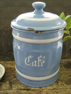blue & white cafe canister #coffeecanister