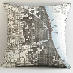Chicago pillow, I'm thinking of doing this with google earth images or google maps for areas that are important to us!