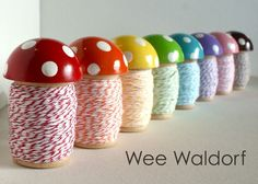 BIG Toadstool Spool tm With Stripey Twine Single by weewaldorf, $10.95