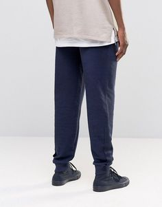 ASOS Standard Joggers In Reverse Loopback With Taping - Blue